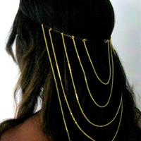 Cascade Invisible Gold Head Piece for Long Hair, Hair Accesories