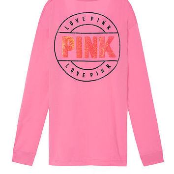 Bling Campus Long Sleeve Mesh Tee - PINK - Victoria's Secret