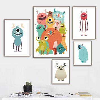 Cartoon Big Eye Monster Wall Art Canvas Painting Nordic Posters And Prints Canvas Art Nursery Wall Pictures Kids Room Home Decor