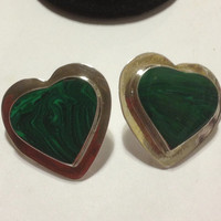 Taxco Malachite Hearts Earrings Sterling Silver Green Mexican Mexico 925 Southwestern Vintage Tribal Jewelry Stones Birthday Gift Etched