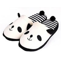 FUNOC® Women Warm Winter Soft Cute Plush Anti-slip Panda Slippers Shoes Indoor Home