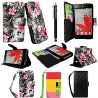 Cellularvilla LG Optimus G F180L Sprint PU Leather Wallet Card Flip Open Pocket Case Cover Pouch (Black Pink Flower)
