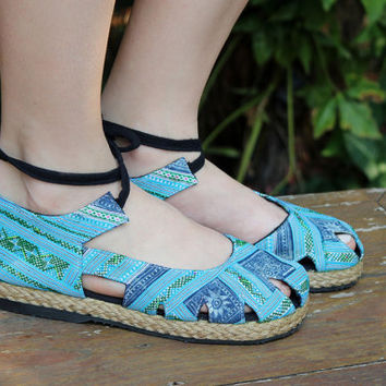 Blue Hmong Embroidery & Batik, Womens Espadrille With Ankle Wrap Flat Boho Shoe