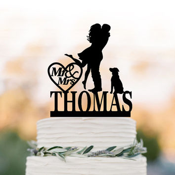 Personalized Wedding Cake topper with dog, silhouette wedding cake topper custom name, Bride and groom wedding cake topper with mr and mrs