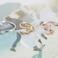 New fashion Jewelry Silver Ring High quality 18K Gold Plated Fire Fox Ring Couple rings Nickle Free Antiallergic