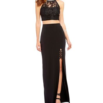 Xtraordinary Beaded-Neck Lace Top Two-Piece Long Dress | Dillards