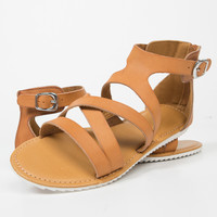 Strappy Contrast Buckled Sandals