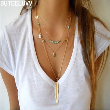 Bohemia Vintage New Fashion Feather Turquoise Beads Glaze Necklaces Leaf 3 Layer Necklace multilayer Necklaces For women NL432
