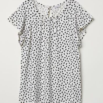 Crêpe top - White/Patterned - Ladies | H&M GB