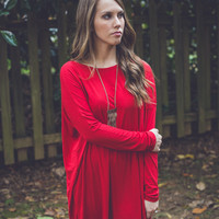 Long Sleeve Roundneck Piko Tunic in Deep Red