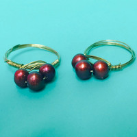 Ships Free! Purple Tinted 3 Pearl Gold Wire Wrapped Ring - Great Gift Idea!