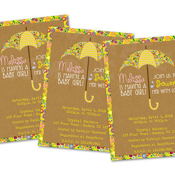 Spring Flower Baby Shower Invitation for Girls - Umbrella Girl Baby Shower - It's a Girl - Floral Summer Kraft - Showers - April - May