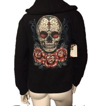 Sugar Skull & Roses Day of the Dead Zip Up Hoodie Sweatshirt Black S M L XL Plus Size 1x 2x 3x 4x 5x