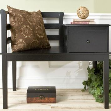 Black Cottage Gossip Bench - Benches -  Entryway -  Furniture | HomeDecorators.com