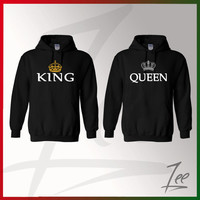 King and Queen, Inspired Soul Mate,Couple sweaters Disney- Funny Couple hoodies Disney Couple,Matching hoodies,Size S-2X