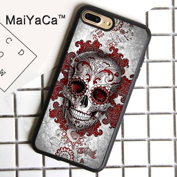 MaiYaCa Day of the Dead Sugar Skull Tattooed Soft Rubber Cover For iPhone 8 Plus Case For Apple iPhone 8plus Phone Cases Shell