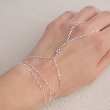 Sterling Silver CZ Infinity Hand Chain
