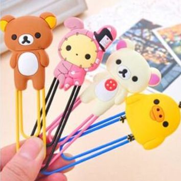 Free Shipping Kawaii Rilakkuma Series Bookmark Clip Memo Clip Paper Clip Bookmark Novelty Gift Retail KCS