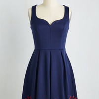 Mid-length Sleeveless A-line Bright This Way Dress in Navy