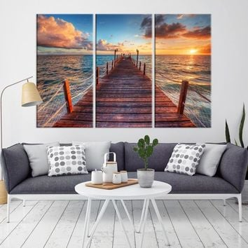19755 - The Wharf to the Sunset Landscape Canvas Print
