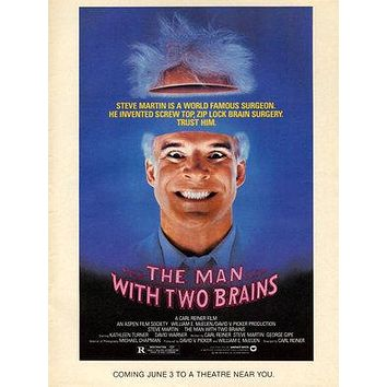 The Man with Two Brains Poster//The Man with Two Brains Movie Poster//Movie Poster//Poster Reprint