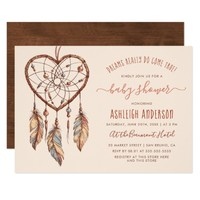 Boho Chic Dream Catcher Rustic Tribal Baby Shower Card