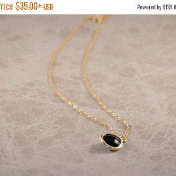 SALE 20% Off - BLACK STONE Necklace, Gold Plated 2.5 Micron, Black Dainty Necklace, Nature Inspired, Friendship Gift, Special Gifts, Bridesm