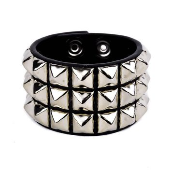 3 Row Silver Pyramid Stud Quality Leather Wristband Cuff Bracelet
