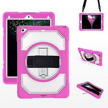 iPad 9.7 inch 2018/2017 Case, Built-in Kickstand Shockproof Case, with Adjustable Hand and Shoulder Strap for iPad