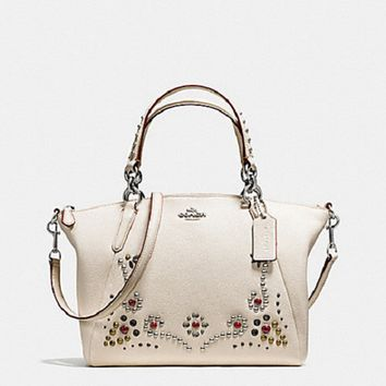 New Authentic Coach F59348 Leather Small Kelsey Satchel Studded Border Embellishment Chalk