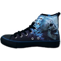 Womens FLAMING SPINE Sneakers Ladies High Top Laceup Shop Online From Spiral Direct, Gothic Clothing, UK