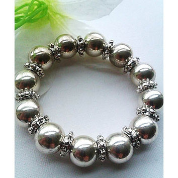 Silver Plated Bead Bracelet With Silver Plated Spacers