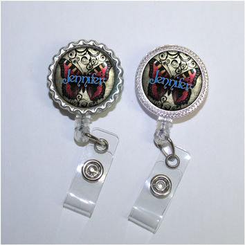 Music Red Butterfly Retractable Badge Reel (B002)