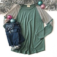 Wintergreen Top with Striped Sleeve Detail