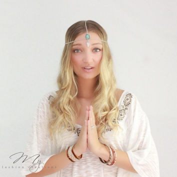 FLASH SALE: Bohemian head chain, Hair Jewelry, Silver head chain, Stone beaded, Boho head piece, Bohemian, Gypy, Hippie, Head piece