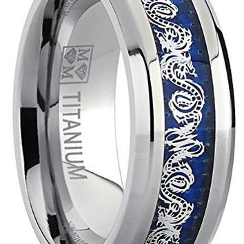 8MM Men's Titanium Wedding Band Ring With Dragon Design Over Blue Carbon Fiber Inlay | FREE ENGRAVING