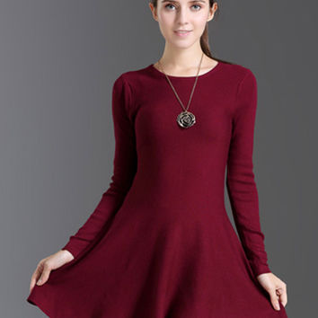 Wine Red Long Sleeve Skater Mini Dress