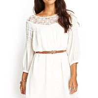 LOVE 21 In Dreams Crochet Lace Dress Cream X-Small