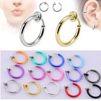 2pcs 10x13mm Colorful Fake Nose Ring Goth Punk Lip Ear Nose Clip On Fake Piercing Nose Lip Hoop Rings Earrings