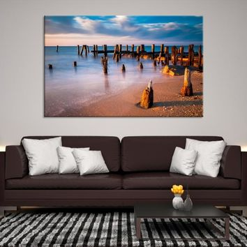 76365 - Old Wharf on the Beach Wall Art Large Canvas Print