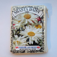 Daisy Seed Packet Coin Purse - Upcycled Shasta Daisy Flower Seed Packet Zippered Pouch