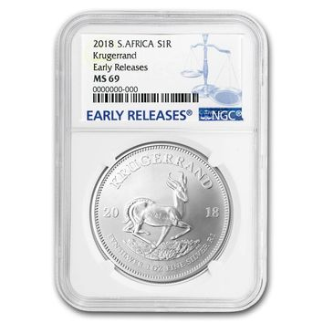 2018 South Africa 1 oz Silver Krugerrand MS-69 NGC (Early Releases)