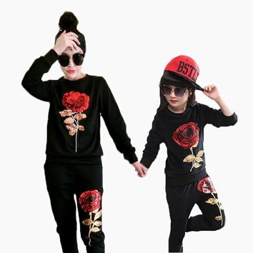 Mother And Daughter Clothes Set Sequins Rose Girls Clothing Set Sport Family Look Clothing Set Shirt With Pants Woman Tracksuit