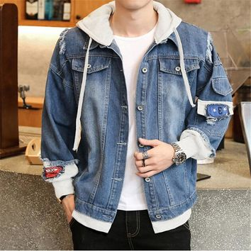Trendy Denim Jacket Men Fashion Jeans Jackets Couple Men's Jacket Coat Outwear Jeans Clothing Men Long Sleeve Hooded Slim Jacket Male AT_94_13