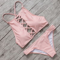 Sweet Pink Little Girls Bikini 2016 Sets Sexy Swimwear Women Summer Style Bathing Suit Bandage Swimsuits Biquini Maillot De Bain