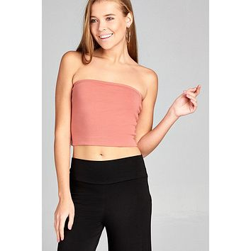 Ladies fashion crop tube cotton spandex top