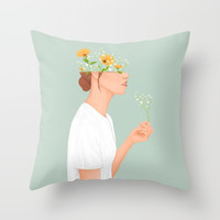 Flower Head Throw Pillow by marylobs