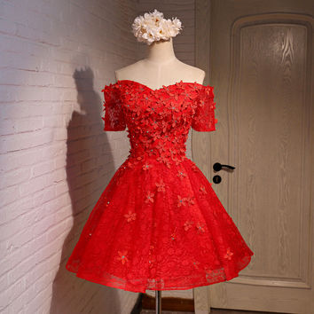 2016 Sweetheart Appliques Beaded Pearl Sequined Ball Gown Short Mini Prom Dress Robe De