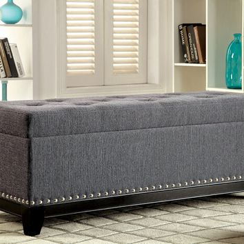 Randi collection gray fabric upholstered tufted top rectangular ottoman storage foot stool