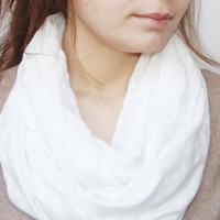 Polka Dots Lightweight White, Infinity Scarf, Tube Scarf, Polkadots Women Accessories